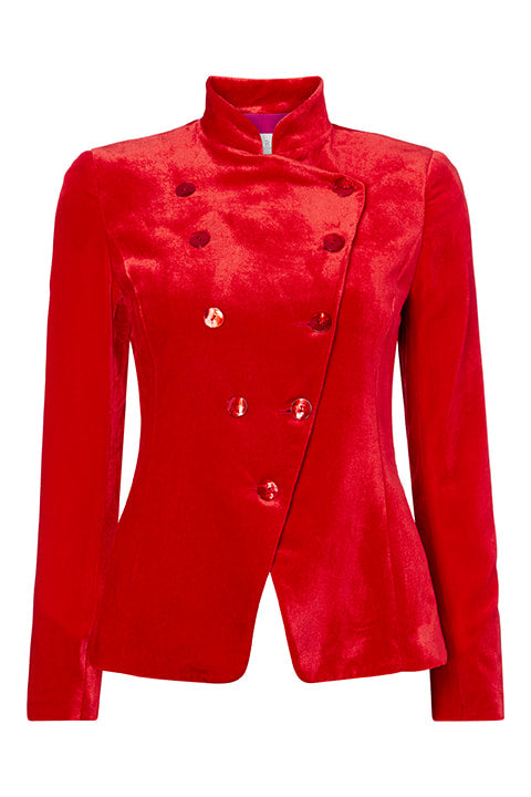 Sergeant Pepper Jacket in Red Orange Velvet