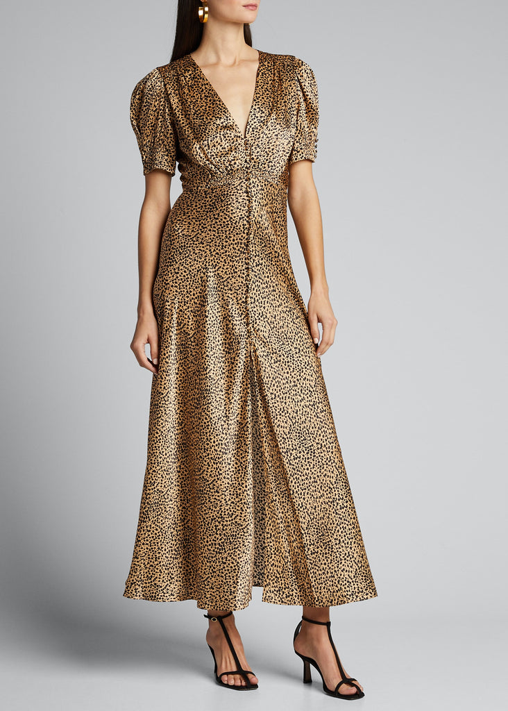 Lea Silk Maxi Dress in Camo Leopard