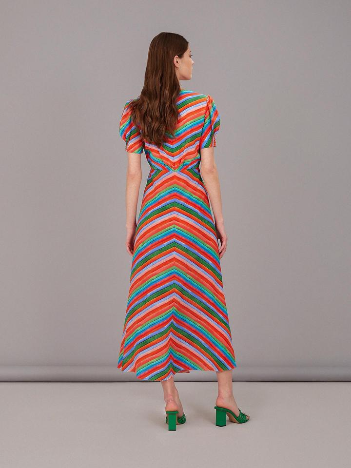 Lea Silk Long Dress in Watercolour Stripe