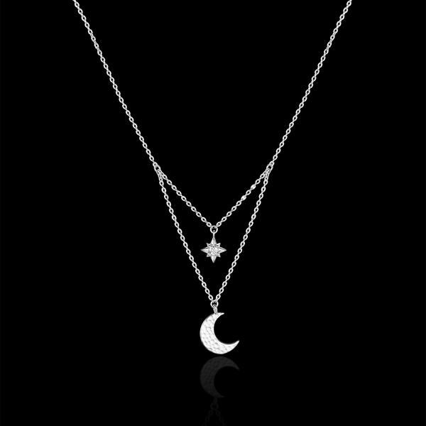 Silver Starry Night Moon and Star Necklace