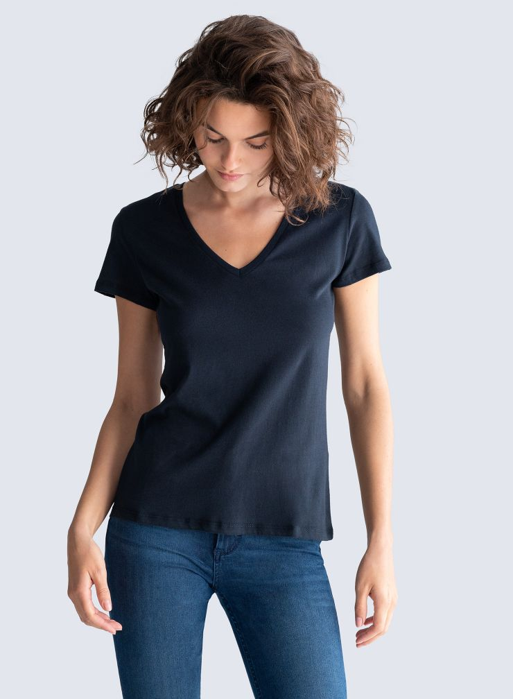 Julia V Neck Tee in Marine