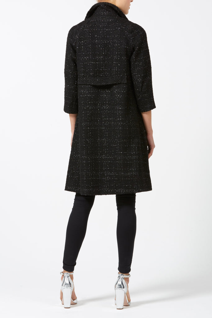 Woolhampton Coat in Black Sparkle Boucle