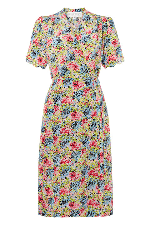 Short Sleeve Wrap Dress in Garden Print