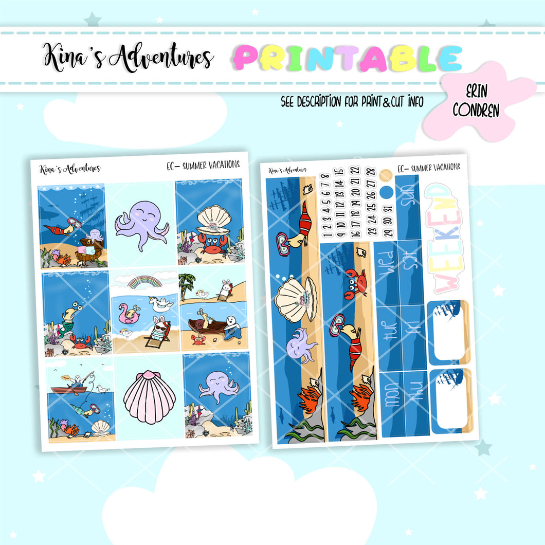 Printables- Standard Vertical Kit- Summer Vibes