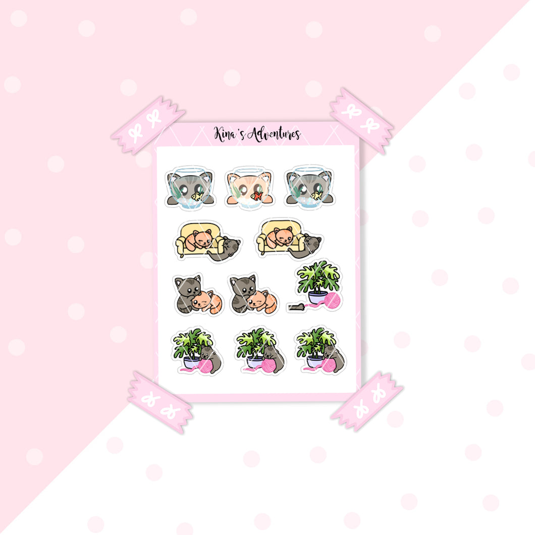 Capsule Collection - Regular Stickers sheet- Cute Kittens
