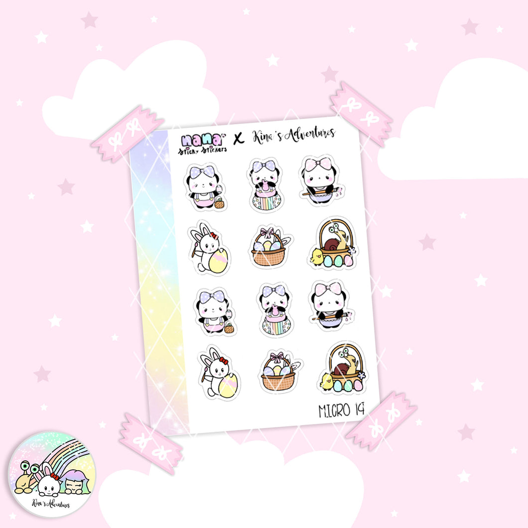 Sticker Sheet- Micro happy planner- Easter 14- Collab + Nanastickystickers