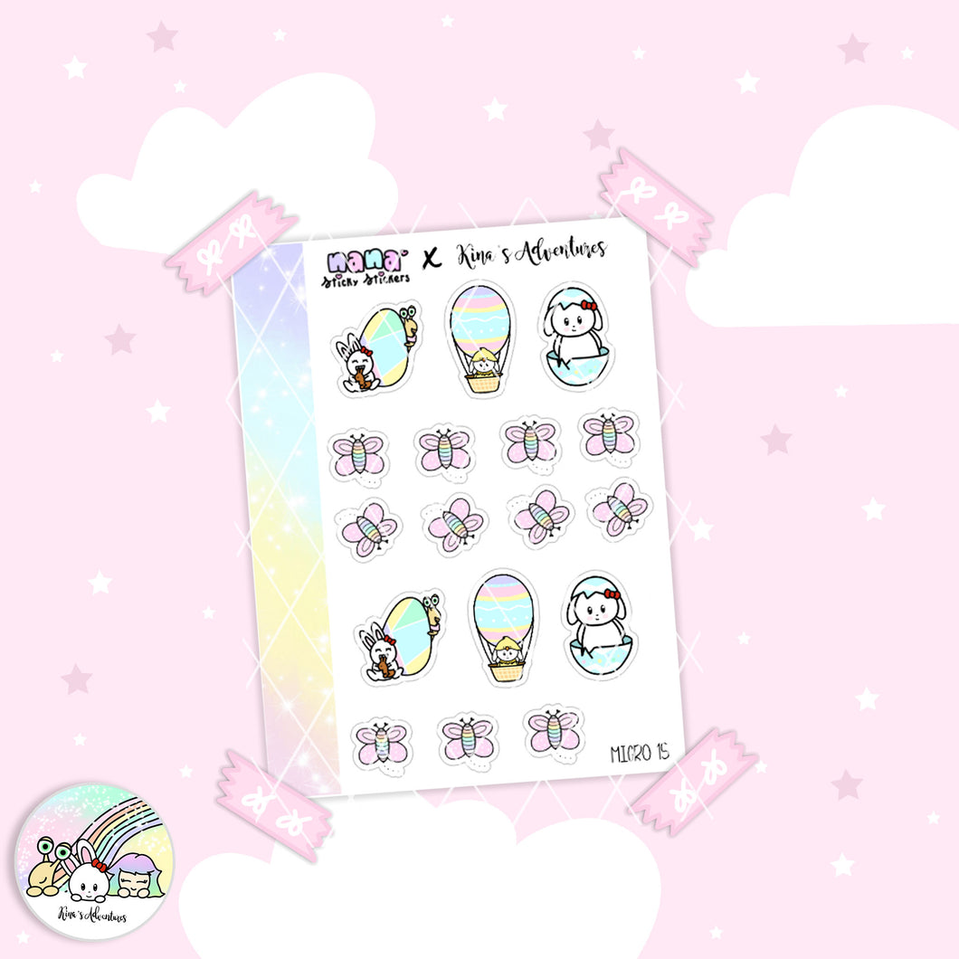 Stickers Sheet- Micro happy planner- Easter 15 - Collab + Nanastickystickers