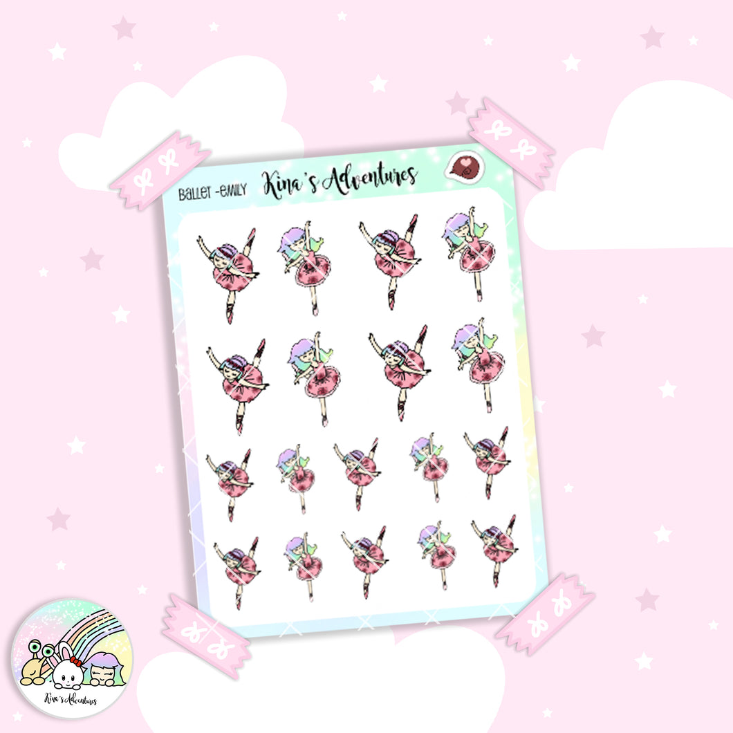 Sticker Sheet - GirlsDoodle (Emily)- Ballet