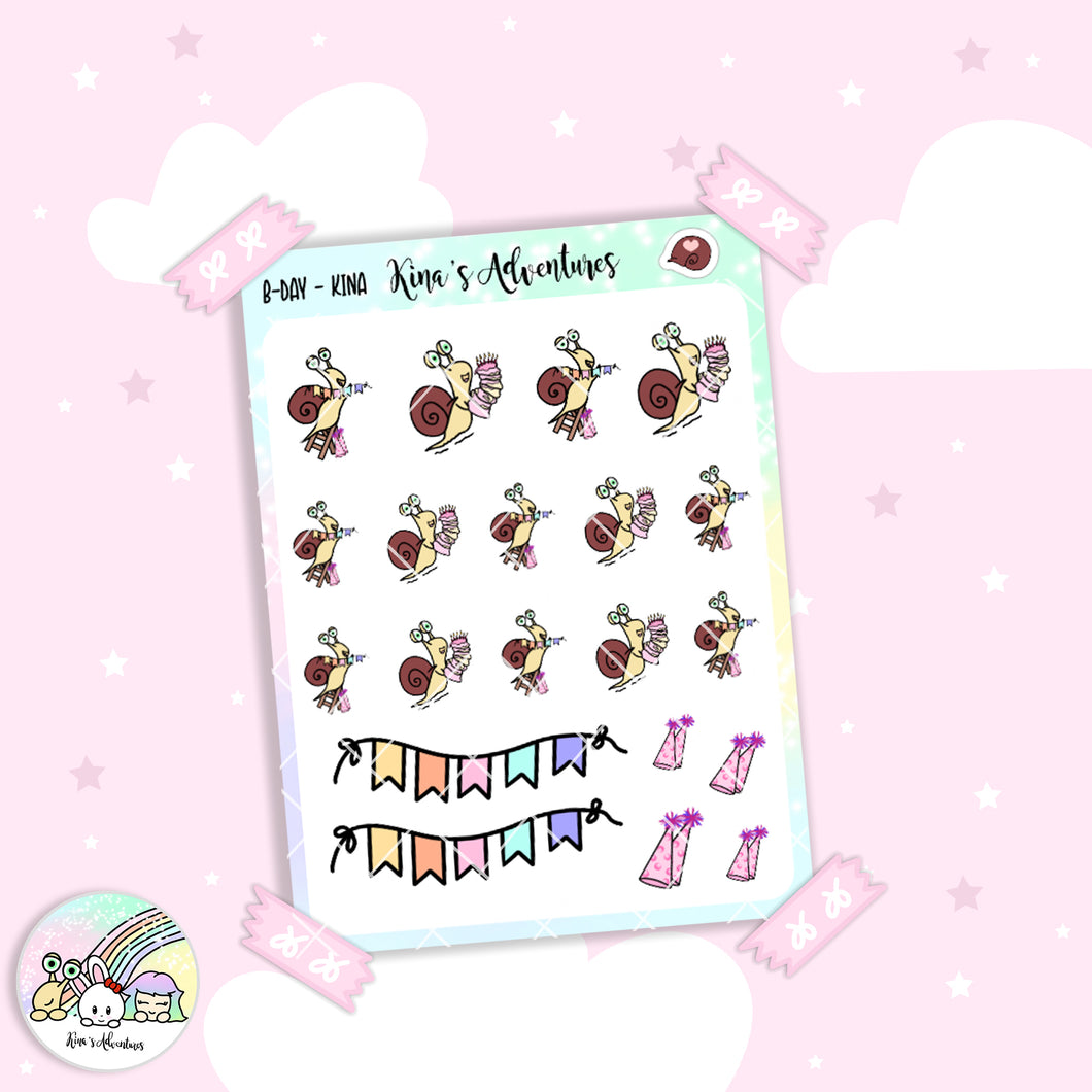 Stickers Sheet/Kina- happy b-day