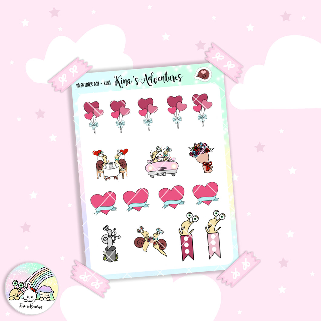 Stickers Sheet- Kina- Valentine's day - limited edition