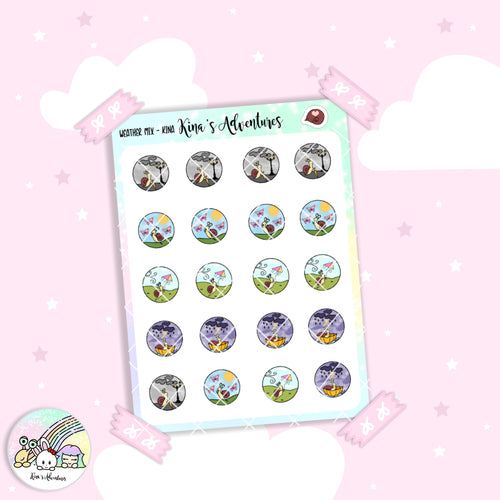 Stickers Sheet/Kina- mix weather
