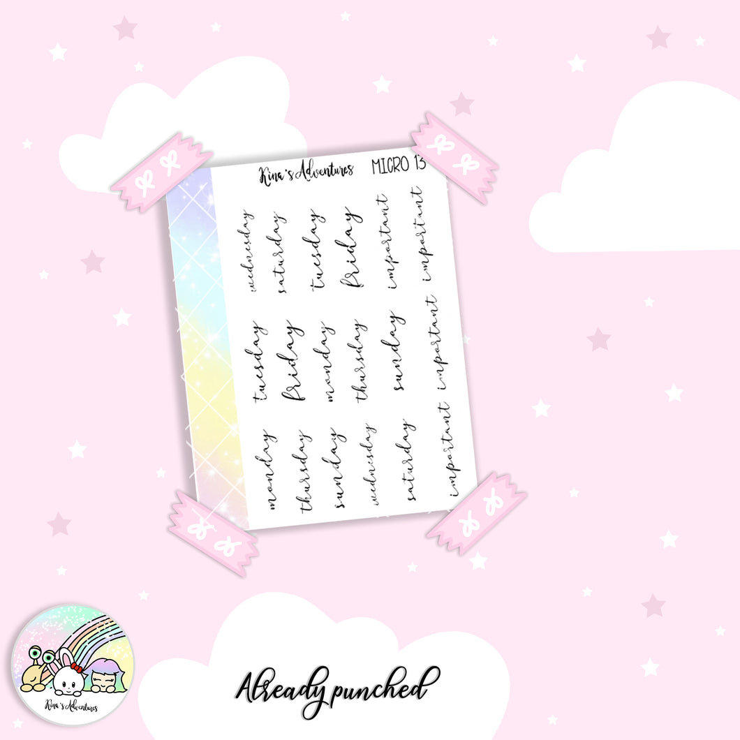 Stickers Sheet- Micro happy planner- 13