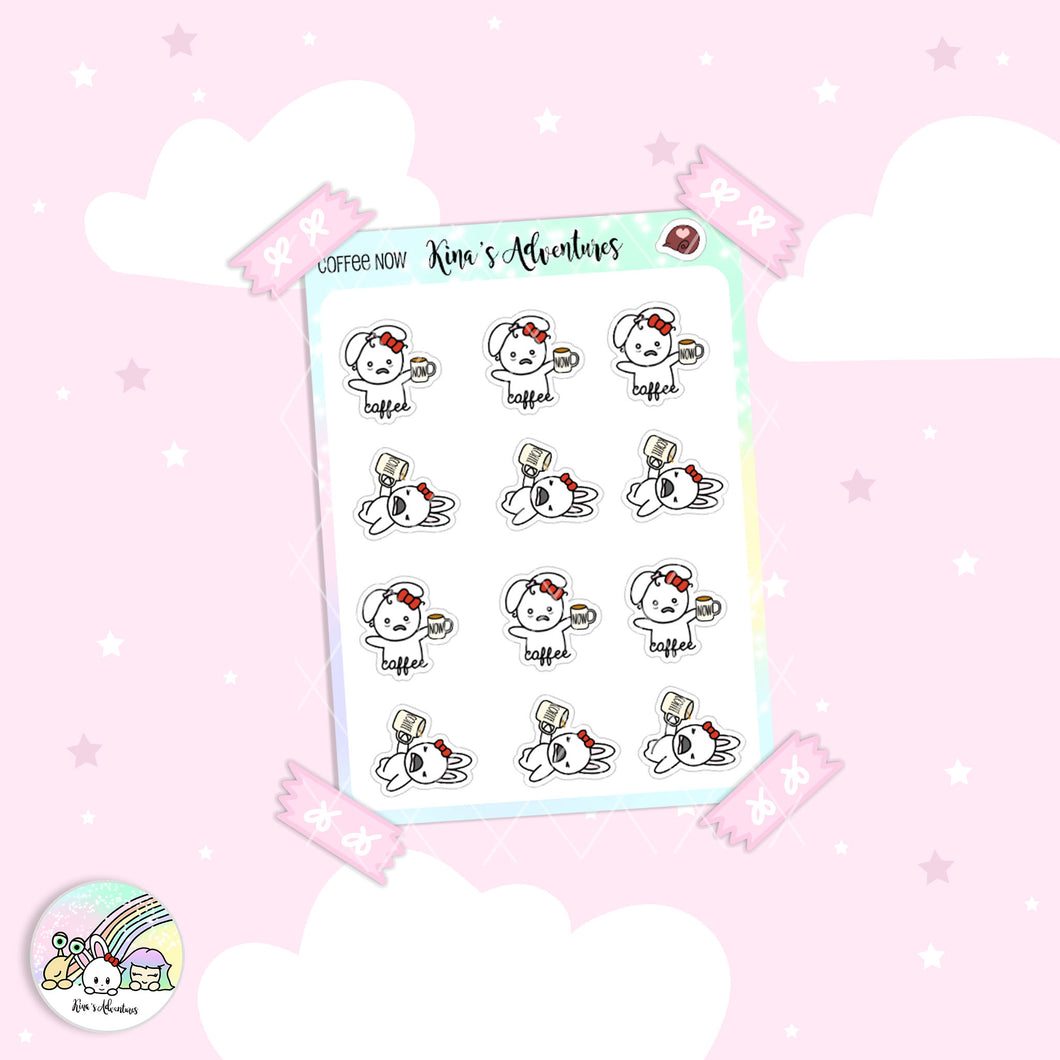 Stickers Sheet - Minu'- Coffee Now