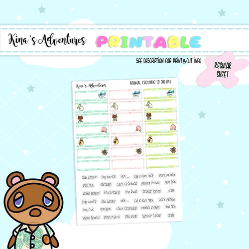 Printable - Regular Sheet - Animal Crossing II - To do list