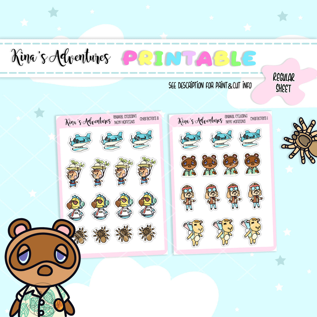 Printable- Regular Sheet - Animal Crossing II Characters