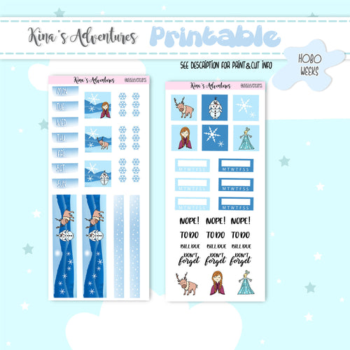 Printable- Hobo weeks- Frozen