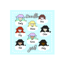 Load image into Gallery viewer, Stickers Sheet - Corner - Girls Doodle