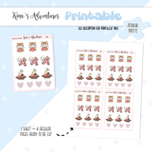 Printable- Regular Stickers Sheet- Love is in the air