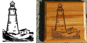 Stock Lighthouse Logo Engraving on Board , Coasters or Box