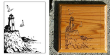 Load image into Gallery viewer, Stock Lighthouse Logo Engraving on Board , Coasters or Box