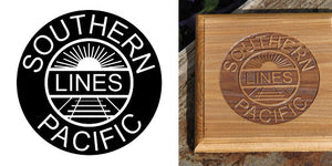 Stock Railroad Logo Engraving on Board , Coasters or Box