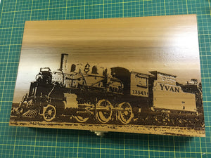 Stock Full-Lid Train Engraving on Large or Medium Box