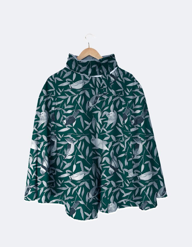 Rain Cape // Green Birds