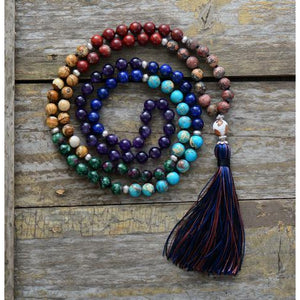 Knotted Bead Yoga Necklace