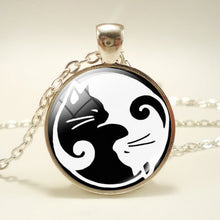Gothic Yin Yang  Glass Necklace