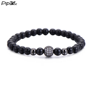 Men Matte Fashion Black Ball Bracelet