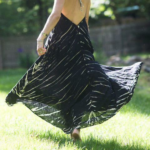 Black Tie Dye Halter Maxi Dress