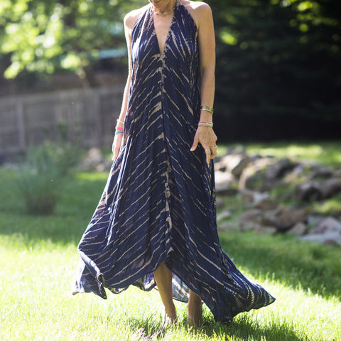 Navy Tie Dye Halter Maxi Dress