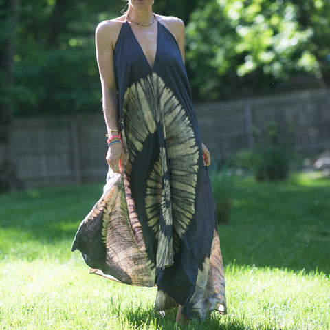 Grey Nautilus Tie Dye Halter Maxi Dress