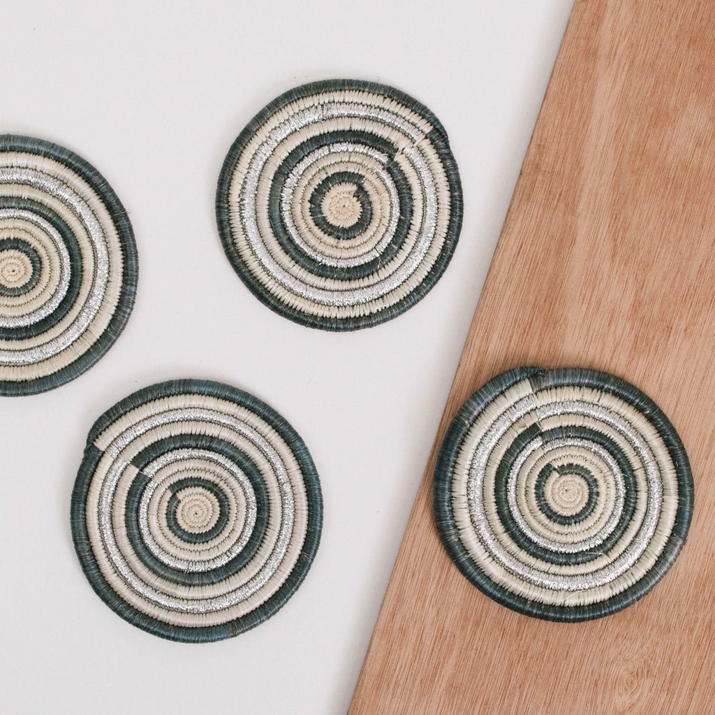 Metallic Mirage Gray Coasters