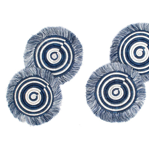 Blue Night Fringed Raffia Coasters