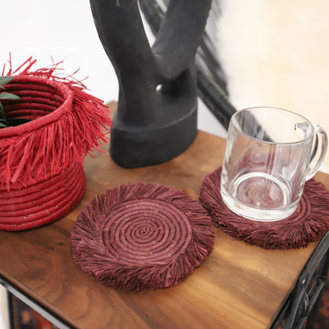 Burgundy Fringed Raffia Coasters