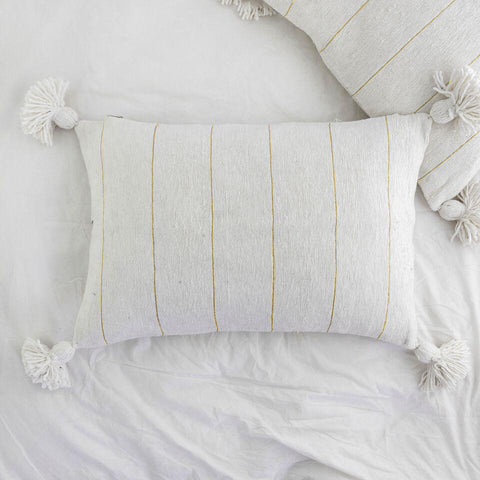 Metallic Stripe Rectangle Pillow - Ivory