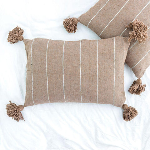 Metallic Stripe Rectangle Pillow - Camel