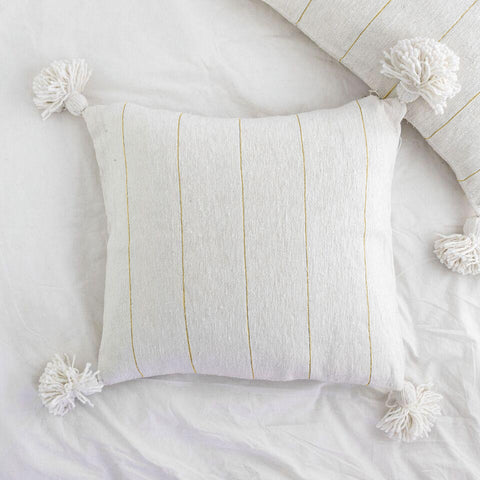 Metallic Stripe Square Pillow - Ivory