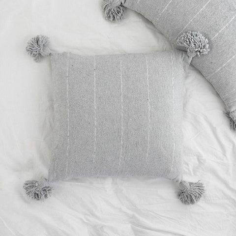 Metallic Stripe Square Pillow - Light Grey