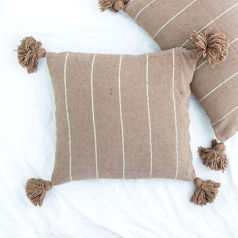 Metallic Stripe Square Pillow - Camel