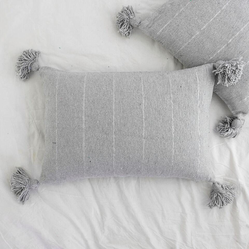 Metallic Stripe Rectangle Pillow - Light Grey