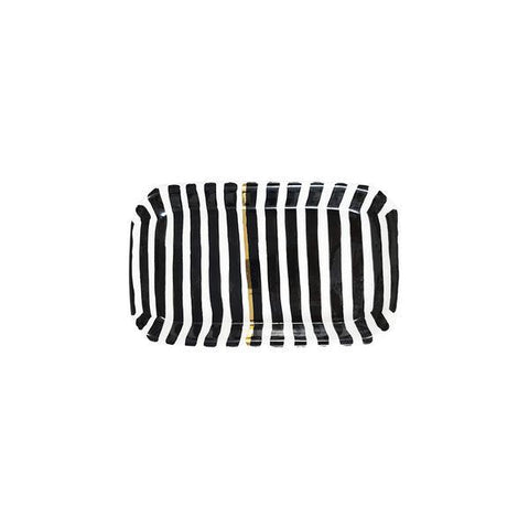 Black Stripe Ceramic Tray