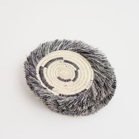 A Fringed Blk + Wht Geo Coasters