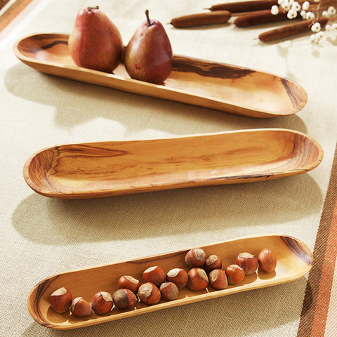 Wild Olive Wood Baguette Trays