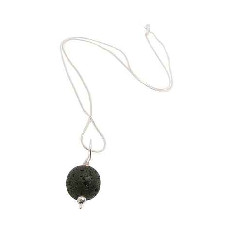 Lava Stone Diffuser Necklace Sterling Silver On SS Chain