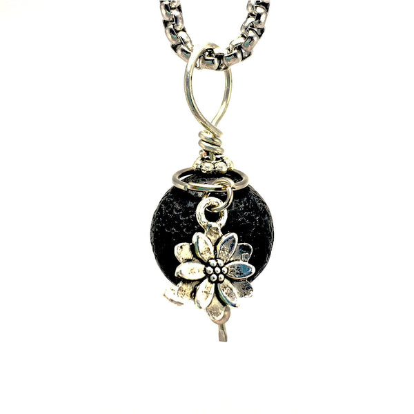 Diffuser Necklace Lava Stone Lotus Flower Charm on Stainless Steel Box Chain