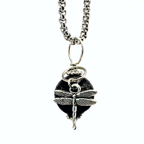 Diffuser Necklace Lava Stone with Dragonfly on Stainless Steel Box Chain