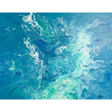 16X20 Original Acrylic Pour Painting Painting on Canvas - Blue Turquoise White - Original ON DISPLAY