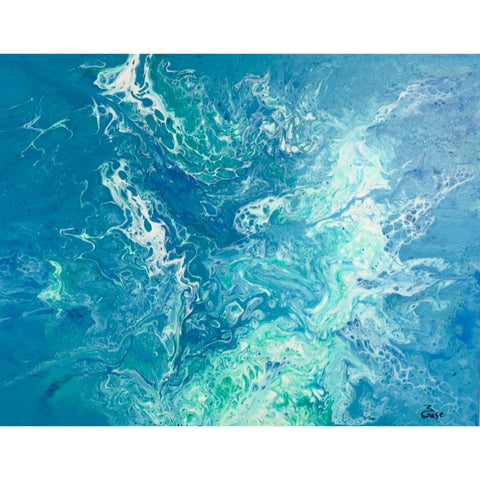 16X20 Original Acrylic Pour Painting Painting on Canvas - Blue Turquoise White